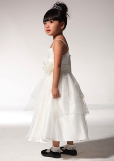 Cute Ankle Length Flower Girl Dress With Handmade Flowers