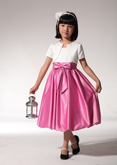 Adorable White And Fuchsia Flower Girl Dress