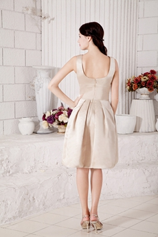 Bateau Neckline Champagne Knee Length Wedding Guest Dress