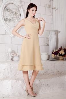 V-Neckline Tea Length Champagne Wedding Guest Dress