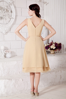 V-Neckline Tea Length Champagne Wedding Guest Dress