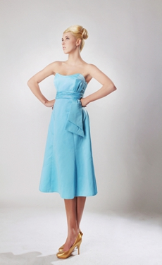 Knee Length Blue Satin Junior Bridesmaid Dress