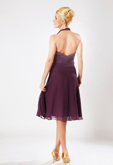 Chic Halter A-line Knee Length Purple Junior Bridesmaid Dress