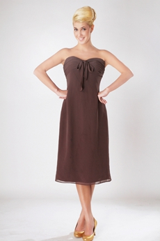 Tea Length Brown Bridesmaid Dress For Juniors