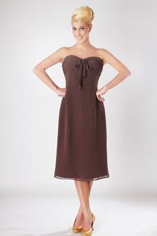 Tea Length Brown Bridesmaid Dress For Juniors