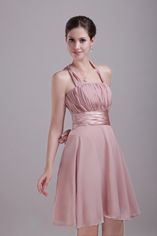 Cute Halter A-line Mini Length Dusty Rose Bridesmaid Dress