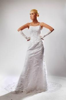 Classy A-line Spaghetti Straps Lace Wedding Dress