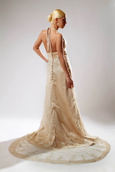 Retro Top Halter Champagne Lace Wedding Dress