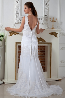 Plunge Neckline A-line Organza Wedding Dress With Lace Appliques