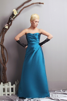 Charming A-line Turquoise Satin Prom Party Dress