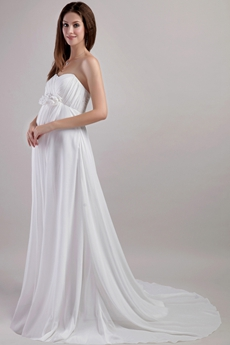 Maternity Wedding Dress With Handmade Flowers