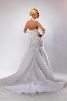 Classy Top Halter White Organza Mermaid Wedding Dress