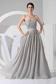 Delicate A-line Silver Gray Chiffon Pageant Dress