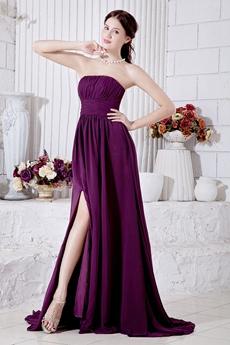 Grape Chiffon Modest Prom Party Dress Front Slit
