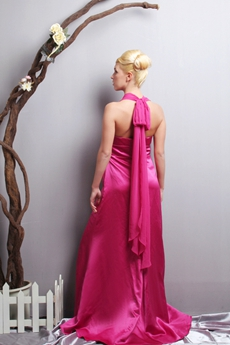 Pretty A-line Top Halter Fuchsia Formal Evening Dress