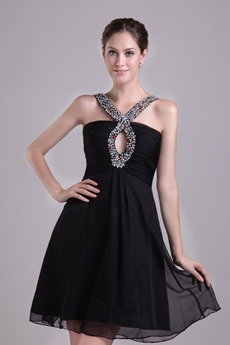 Double Straps Mini Length Black Nightclub Dress With Beads