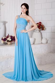 One Straps A-line Blue Celebrity Evening Dress