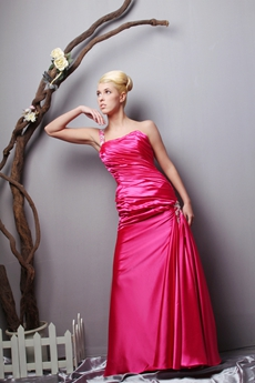 A-line One Straps Fuchsia Satin Special Prom Dress
