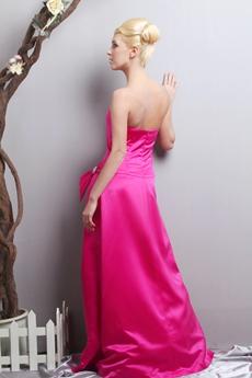 Dipped Neckline Fuchsia Satin Prom Party Dress