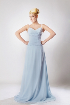 Delicate Light Sky Blue Chiffon Engagement Evening Dress