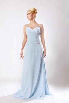 Delicate Light Sky Blue Chiffon Engagement Evening Dress