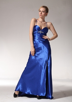 Sexy A-line Royal Blue Satin Evening Dress