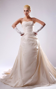 Impressive Spaghetti Straps Champagne Taffeta Plus Size Wedding Dress