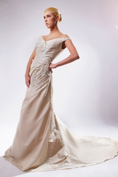 Off The Shoulder Champagne Taffeta Wedding Dress