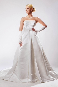 Beaded Satin Plus Size Wedding Dress