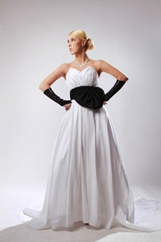 A-line White Satin Bridal Dress With Black Sash