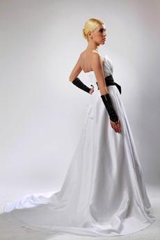 A-line White Satin Bridal Dress With Black Sash