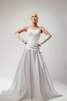 Asymmetrical Waist A-line Satin Bridal Dress