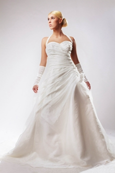 Modest Top Halter A-line Simple Pleated Wedding Dress