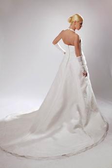 Modest Top Halter A-line Simple Pleated Wedding Dress
