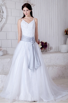Spaghetti Straps White Organza Princess Wedding Dress With Silver Sash