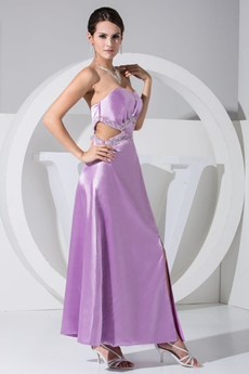 Ankle Length Column Lilac Prom Dress Cut Out