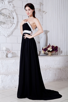 Strapless A-line Black Prom Dress Backless