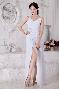 Front Slit White Chiffon Summer Wedding Dress