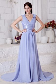 V-Neckline A-line Chiffon Lavender Celebrity Evening Dress