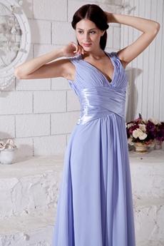 V-Neckline A-line Chiffon Lavender Celebrity Evening Dress