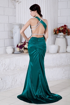Backless A-line Dark Green Formal Evening Dress