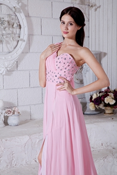 Sexy One Straps A-line Pink Chiffon Evening Dress Front Slit