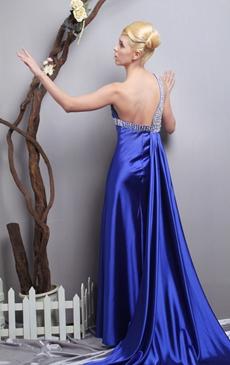 Royal Blue Satin Formal Evening Dress One Straps