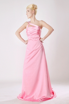 Stunning One Shoulder Pink Satin Formal Evening Dress