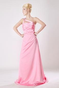 Stunning One Shoulder Pink Satin Formal Evening Dress