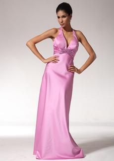 Backless Halter Pink Evening Dress