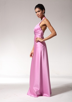 Backless Halter Pink Evening Dress