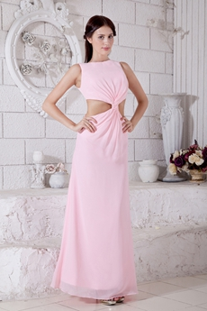 Cut Out Bateau Neckline Pink Chiffon High School Graduation Dress