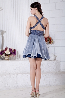 V-Neckline White And Dark Navy Organza Quince Dress For Damas