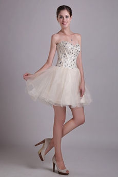 Fashionable Puffy Mini Length Champagne Sweet Sixteen Dress With Beads